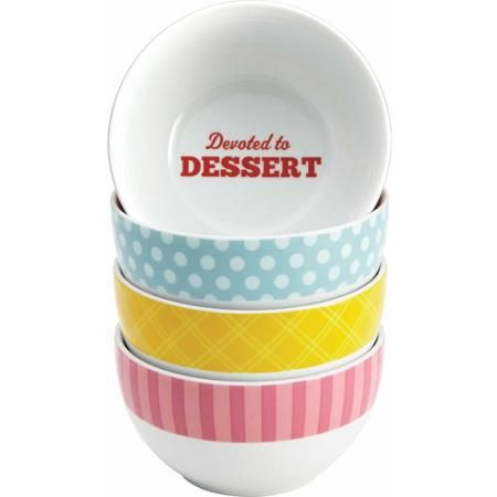 Cake Boss Serveware 4-Piece Ice Cream Bowl Set, Patterns