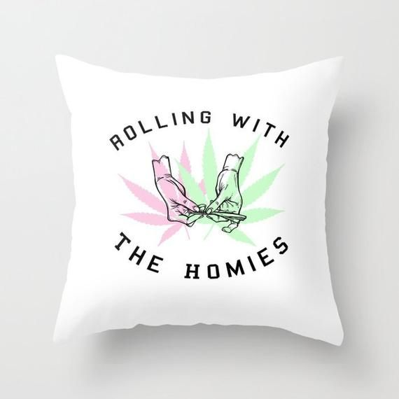 Weed Pillow Stoner Decor Marijuana Gifts Funny Pillow Cover Pot Leaf decor funny throw pillows dorm decor girls clueless dorm pillow