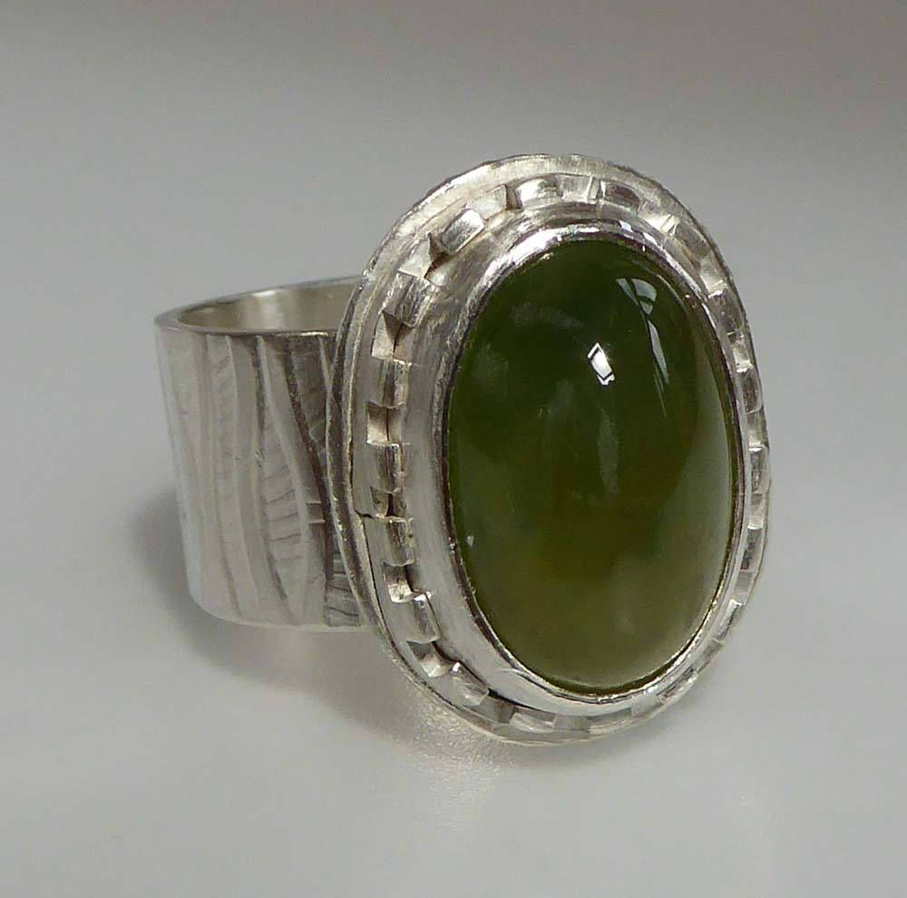 Green garnet silver wide ring size q ready to ship statement