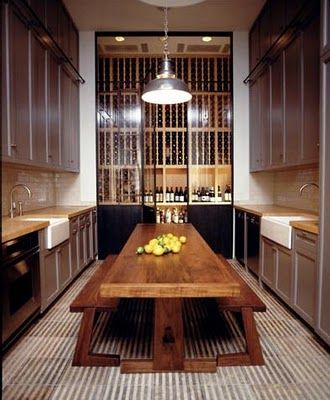 We adore the long table and bench for the kitchen! It's a rustic yet modern way to add some pizzaz to the room!