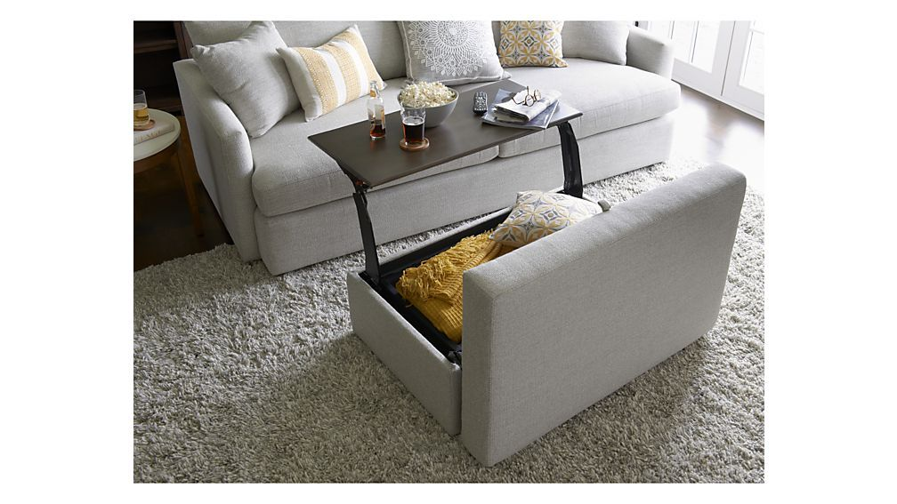 Lounge Ii Storage Ottoman With Tray Grey Storage Ottoman