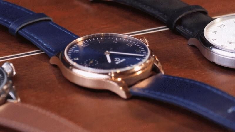Galileo Watchmaking Kit - Cosmo Blue & Gold Design, Hand-Wound & Battery-Free, Suede Leather Strap - Assembled in Los Angeles