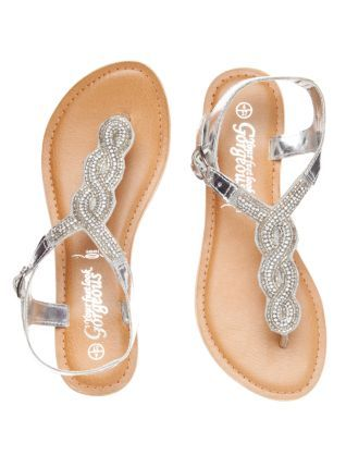 3674e5e09877 Silver (Silver) Silver Bead Embellished Flat Sandals