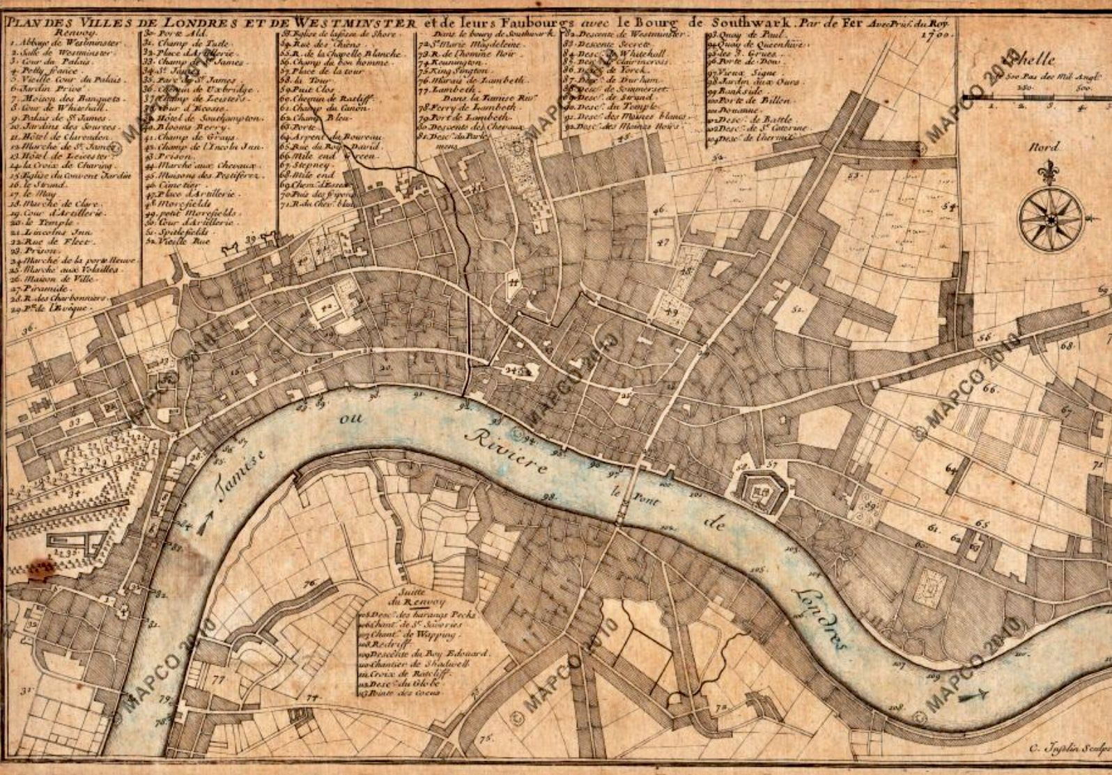 Nicholas de fer Reproduktion ANTIK Alte Karte Plan Westminster London England
