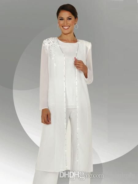 White Chiffon Long Sleeves Mother Of The Bride Pant Suits With Long Blouse Sequins Beaded Mother Of Groo Brautmutter Outfit Kleidung Brautmutter Mutter Kleider