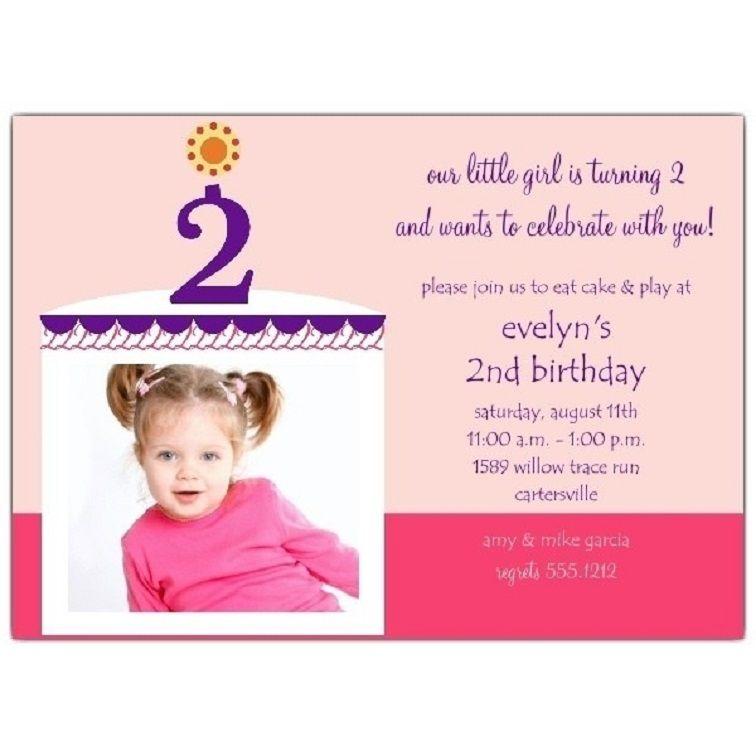 2nd Birthday Invitation Card Template 2nd Birthday Invitations Birthday Invitation Card Template Birthday Invitations Girl