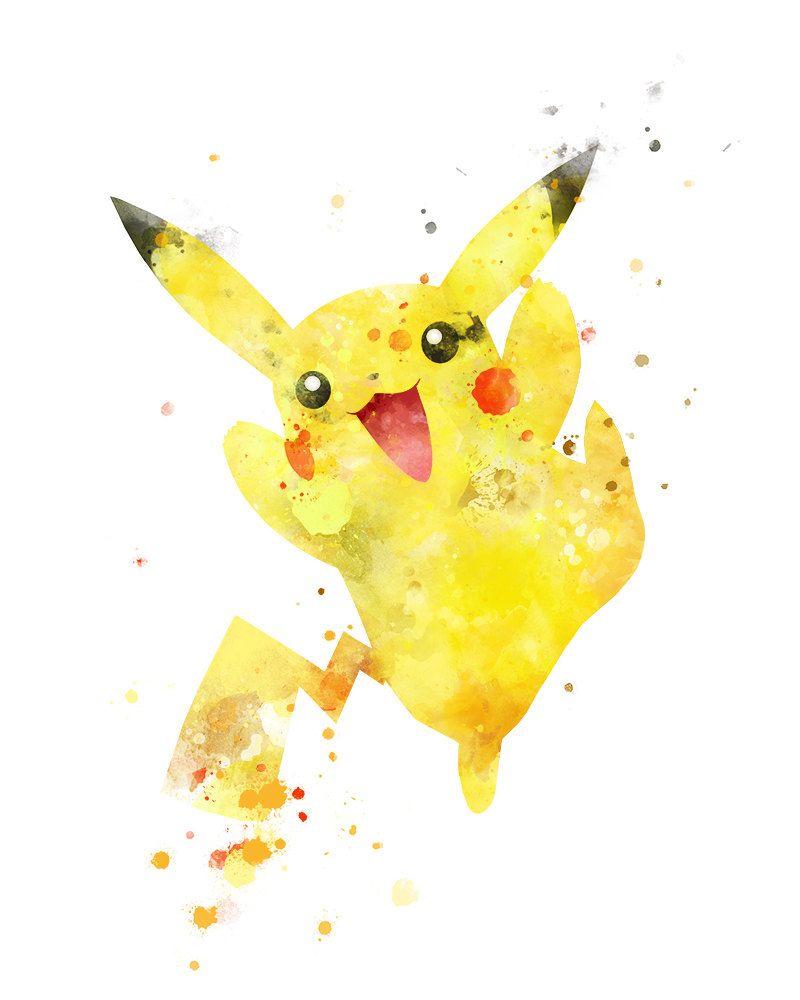 Pikachu Evolutions Pokemon Poster Art Print Watercolor Anime Print Poster