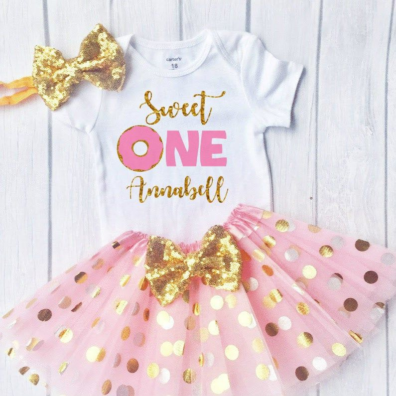 Donut Birthday Outfit, Baby Girl 1st Birthday Outfit