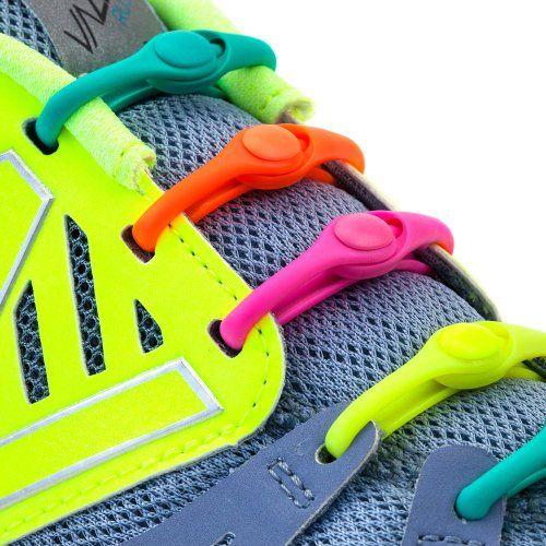 HICKIES Elastic No Tie Shoelaces Neon Rainbow Multicolor