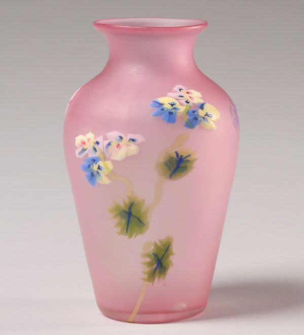 """Fratelli Toso Floreale, art glass vase. Pink body applied with floriform decoration of murrina and trails. 5""""H. Very good condition; small 1/4"""" crack from pontil on base."""