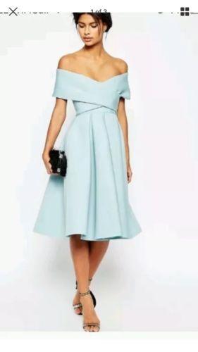 Asos Pale Blue Bardot Off The Shoulder Midi Dress Sold Out Size 12