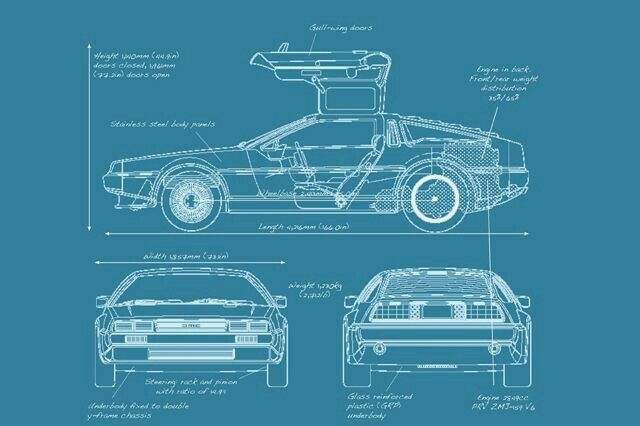A delorean dmc 12 blue print cool cars cool cars pinterest a delorean dmc 12 blue print malvernweather Image collections