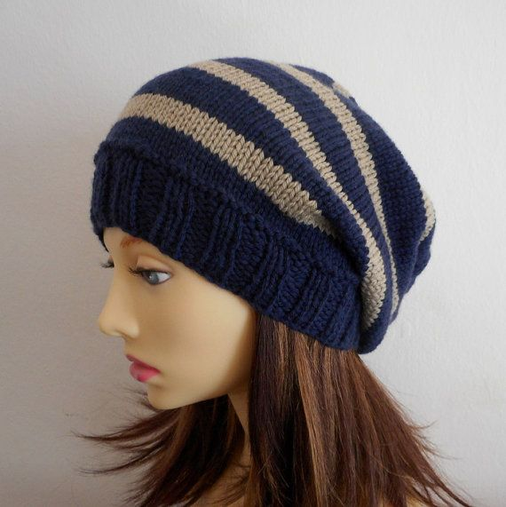 CAMPUS KNITTING PATTERN Striped Slouch Hat /Knit in by artesana ...