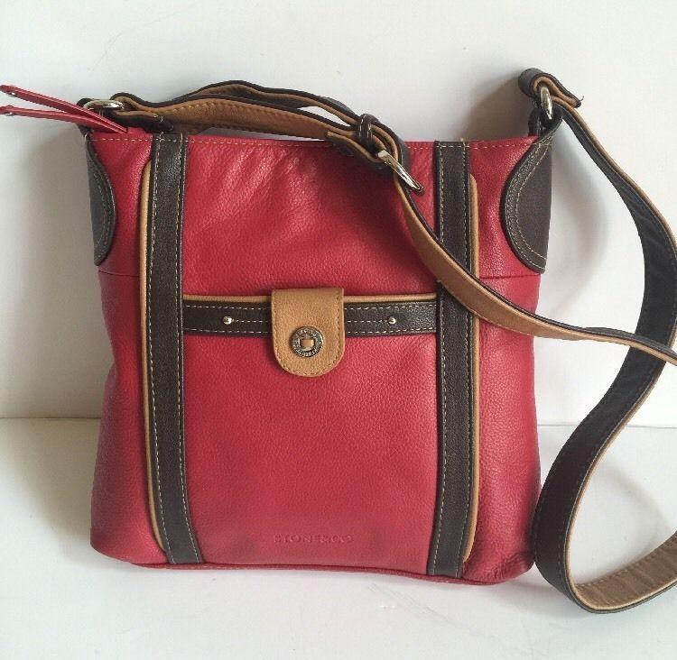 Stone Co Red Brown Leather Cross Body Shoulder Purse Medium Ebay