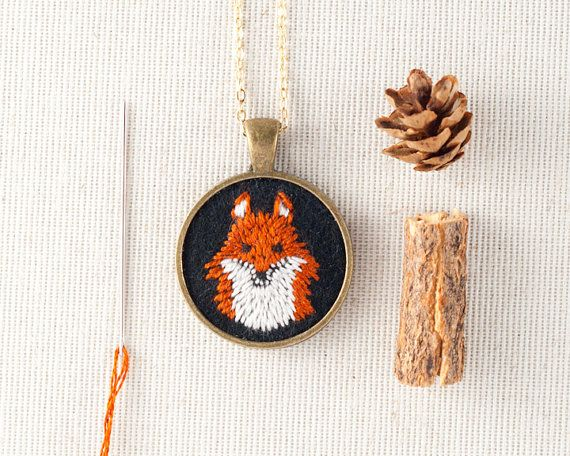 Part of my Power Animal Series, a sweet pendant fox! Hand embroidered fox on black wool felt. Soft to touch, and a unique combination of fiber and