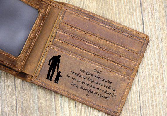 Custom Father's Day Wallet, Engraved Wallet, Personalized