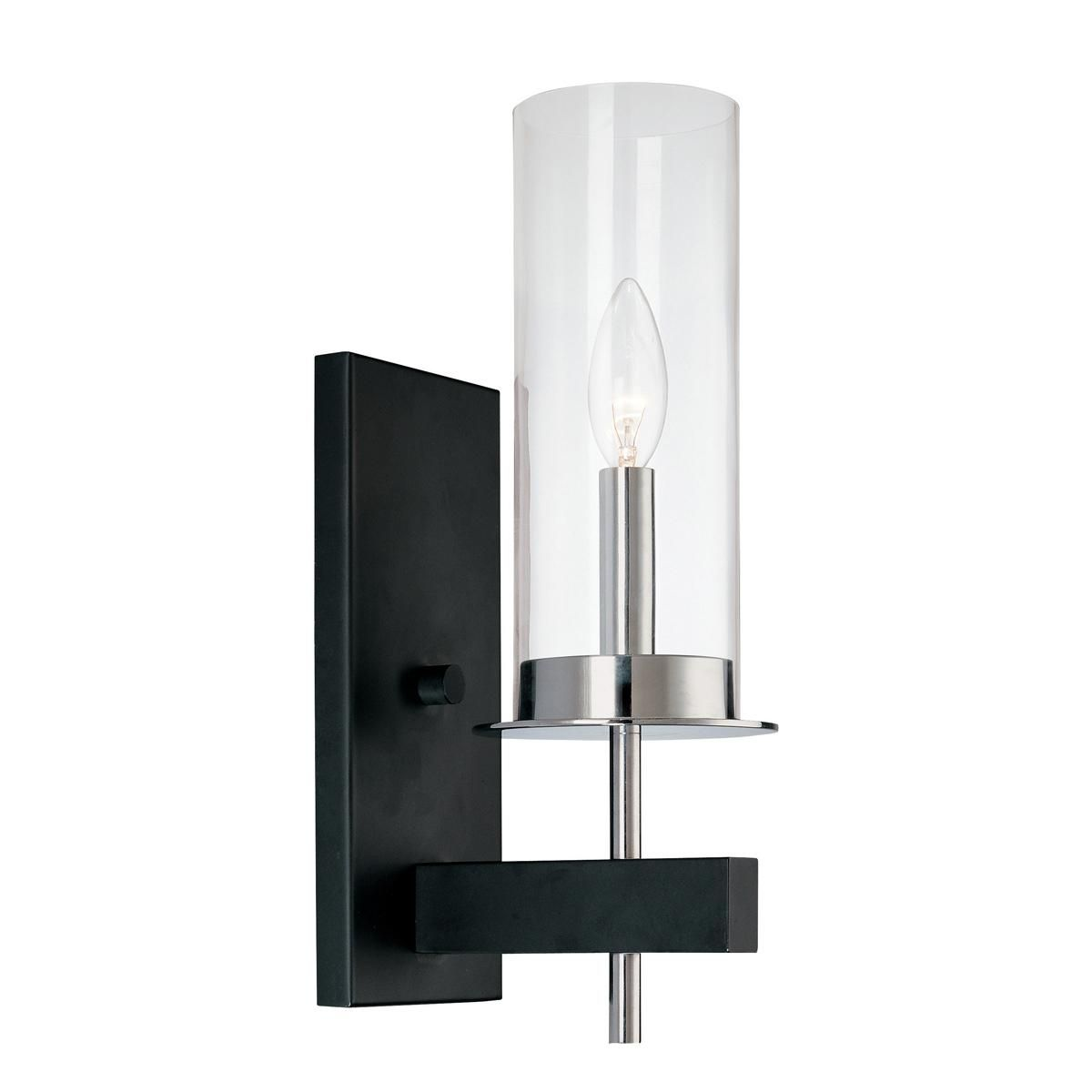 Modern Radius And Clear Glass Hurricane Sconce 1 Light Black Wall Sconce Wall Sconces Wall Lights