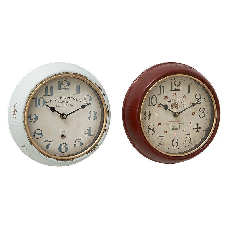 DecMode Rustic Metal Wall Clock - Set of 2 - 52564