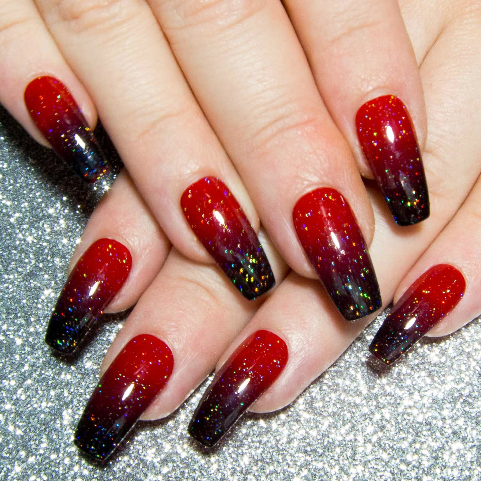 Red & Black Holo Ombre - All Shapes   Red black, Coffin nails and Ombre