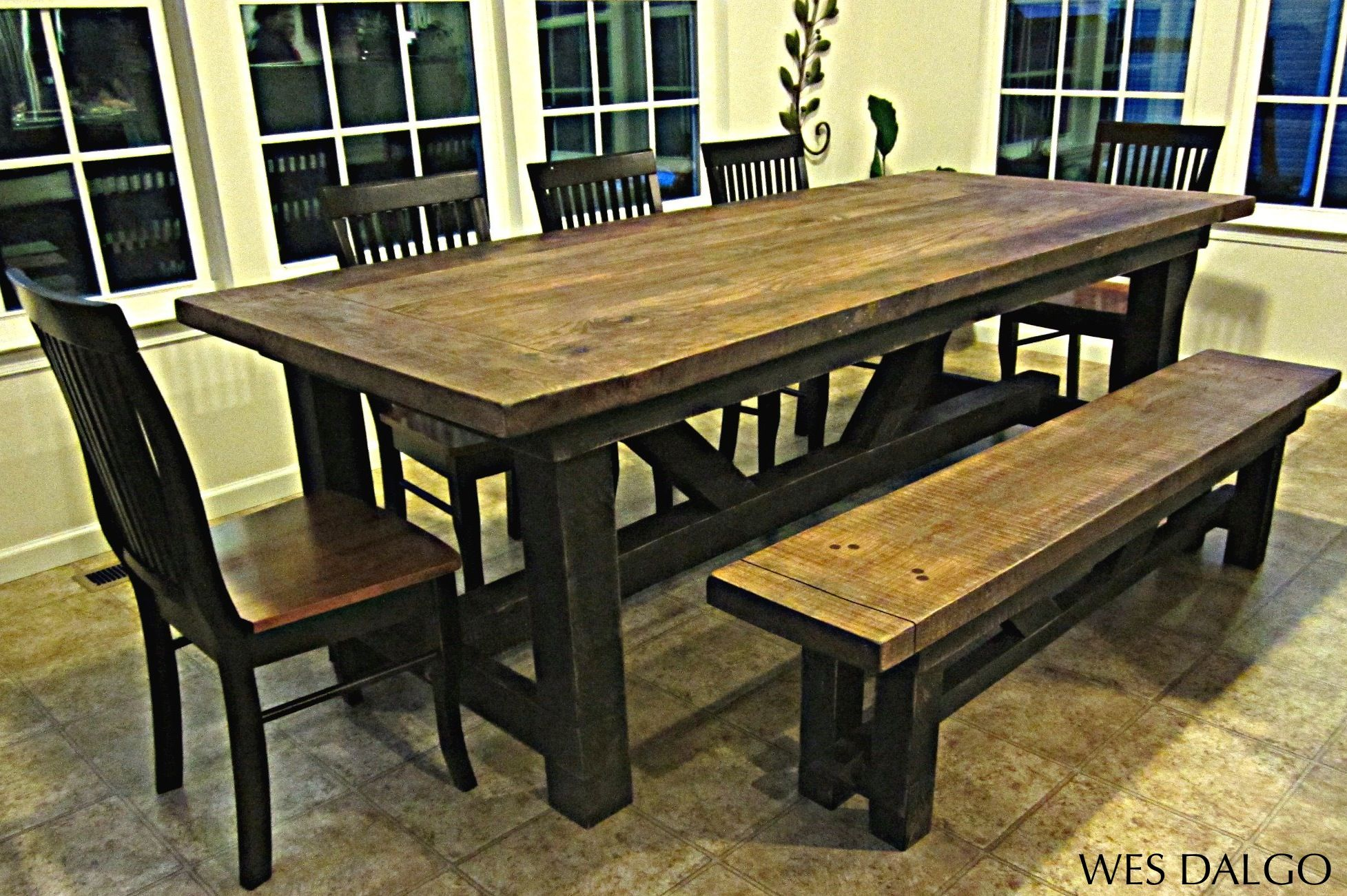 Modern Barnwood Harvest Table with Bench Farmhouse