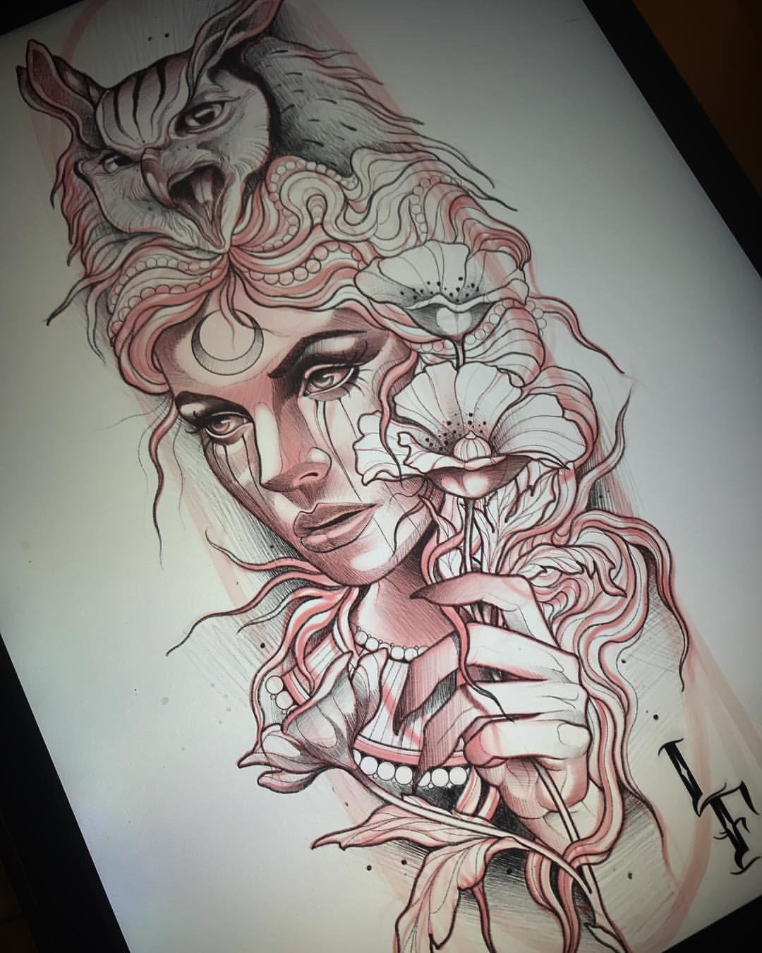 Photo of Lucas Ferreira sur Instagram: «Disponible. 👰🏼🦉🌸 Prendre des réservations jusqu'en décembre lucasferreiratattoo@gmail.com #tattoo #sketching #tattoodesign #newtraditionaltattoo»