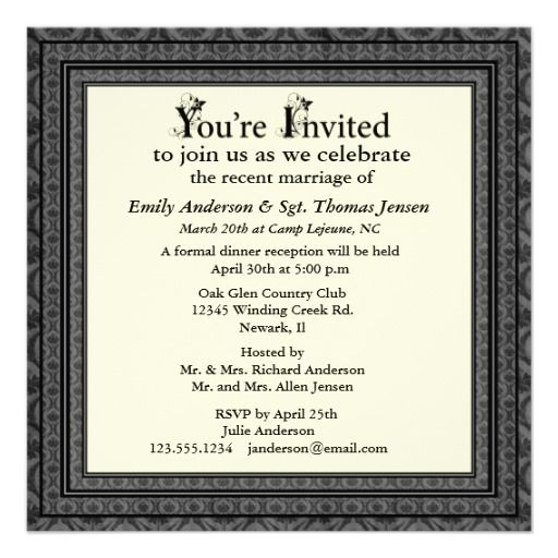 Post Wedding Party Invitations invitation template a formal - reception invitation template