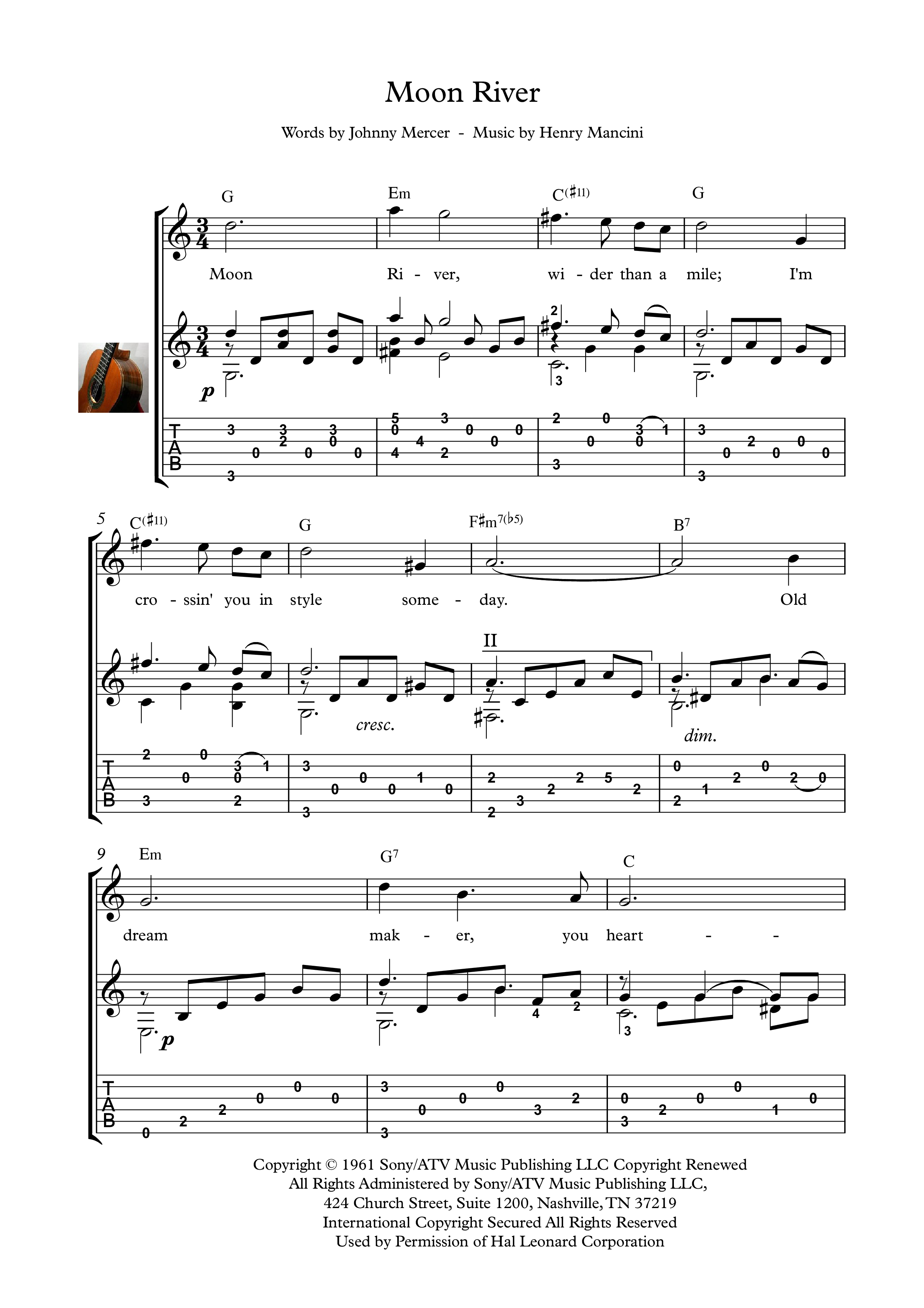 Moon River Guitar Solo Sheet Music Moon River Is A Song Composed By