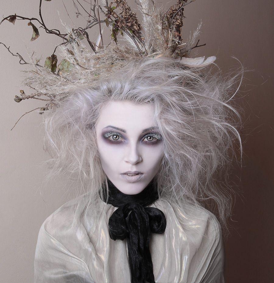 Head piece with White Grey hair avant guard hollow eyes creepy ...