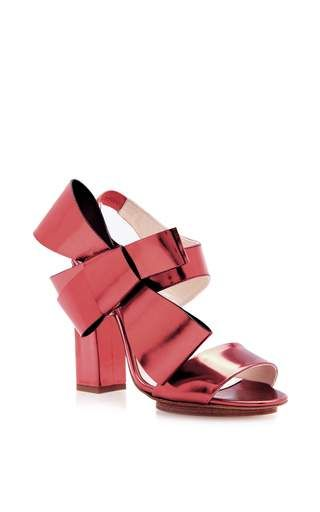 DELPOZO Designer Shoes, and Navy Patent Leather Bow Sandals