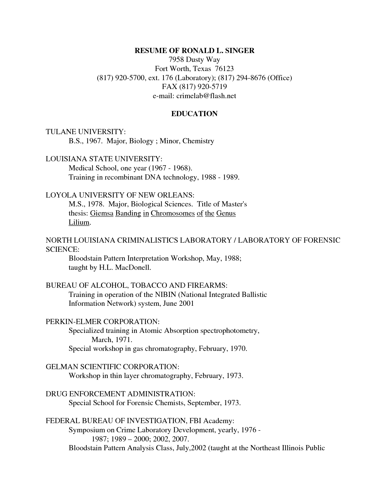 forensic science resume
