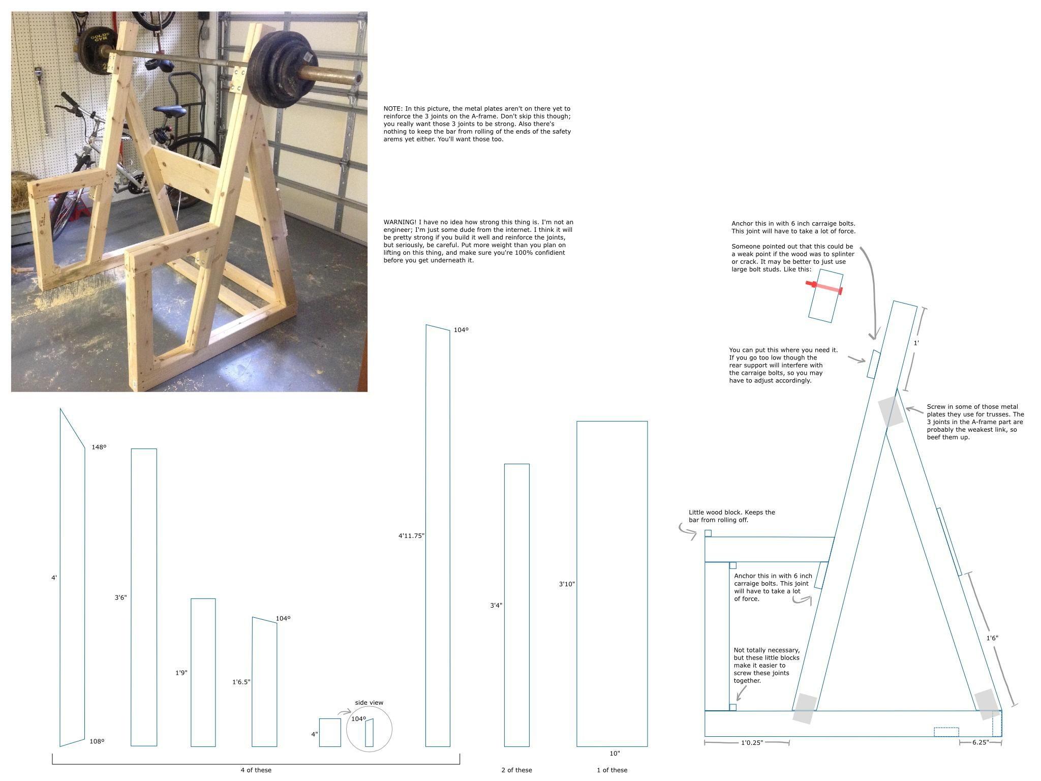 diy wooden squat rack gym power rack and squat