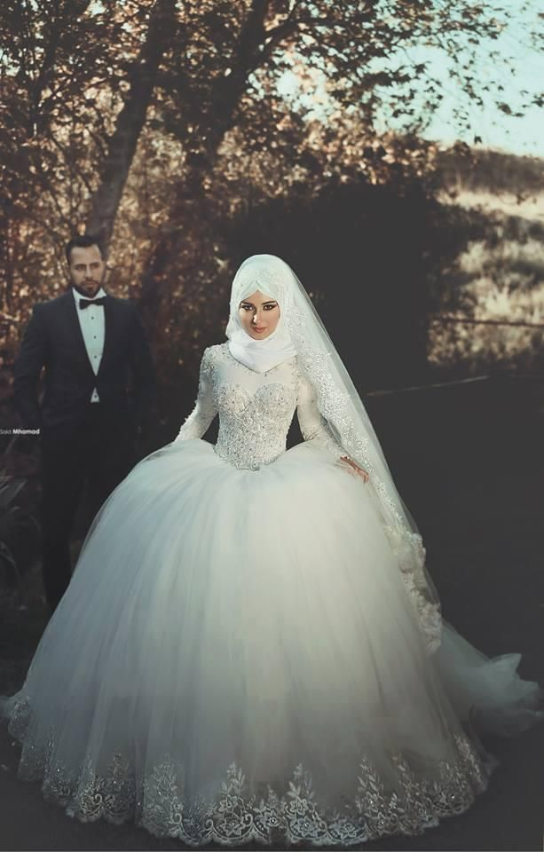 Beaded Ball Bridal Gowns Muslim Wedding Dresses Modest With Long Sleeved 2016 Summer Lace Bodice Puffy Skirt For Princess Style Brides