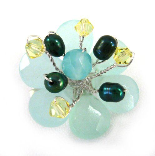 Sterling Silver Wire-Wrapped Crystal Flower Brooch Pin, Blue Chalcedony