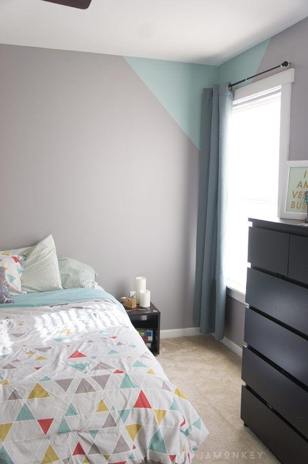 Geometric Accent Wall   Geometric wall paint, Home decor, Wall