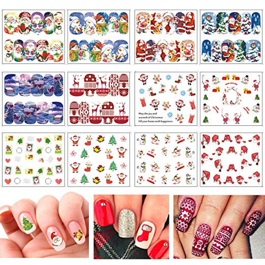 Amazon com: TailaiMei Christmas Nail Decals Stickers, 150Pcs