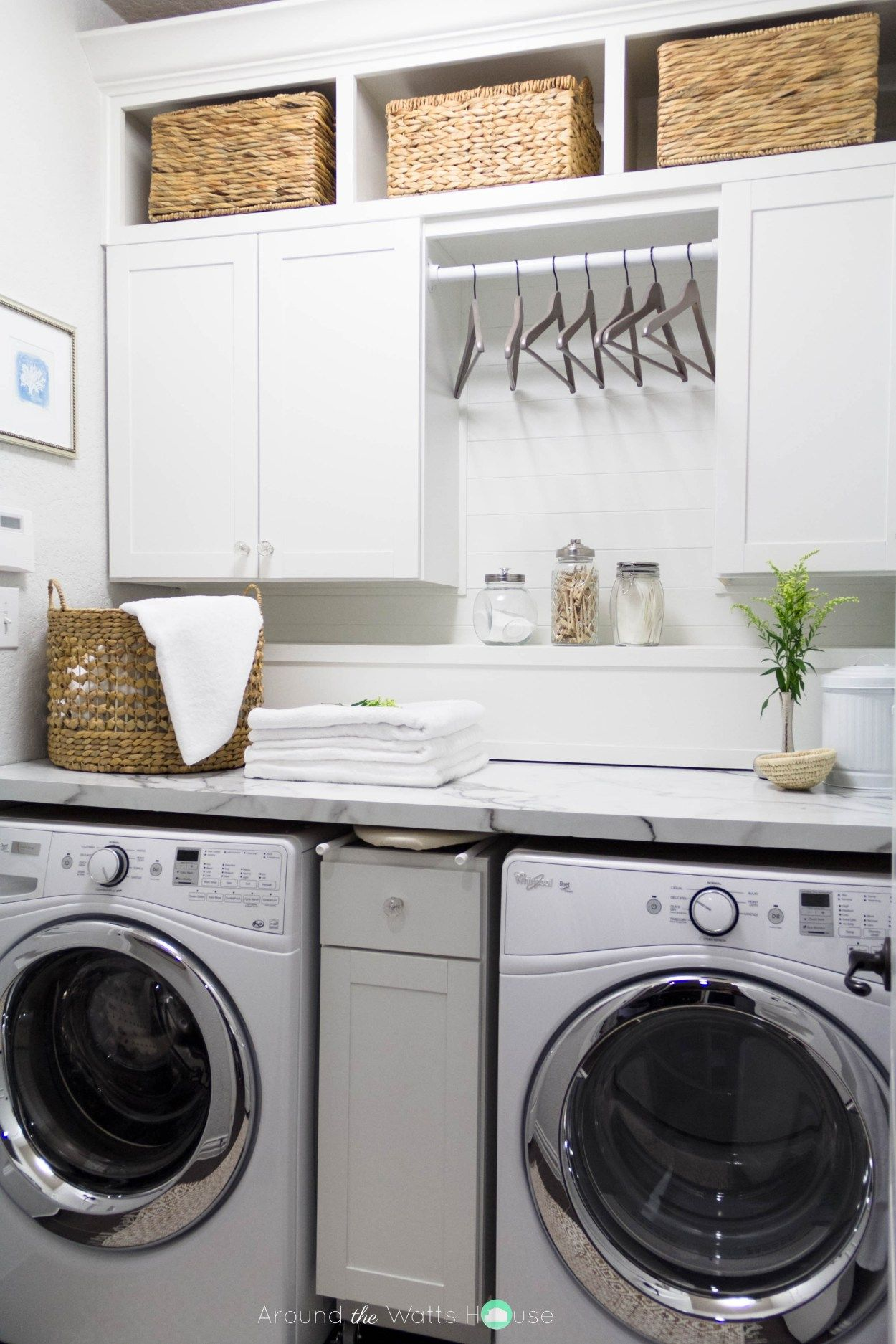 One room challenge week 6 laundry room reveal laundry for Kitchen cabinets lowes with hanging heavy wall art