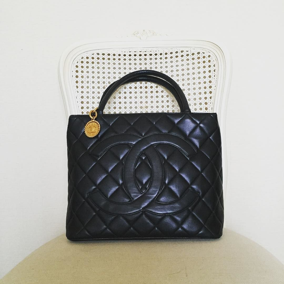 6f4e7c1c40aa Vintage Chanel Medallion Tote Bag in Black Lambskin Gold Hardware Good  Condition (size 30x24x15 cms) 26500 baht