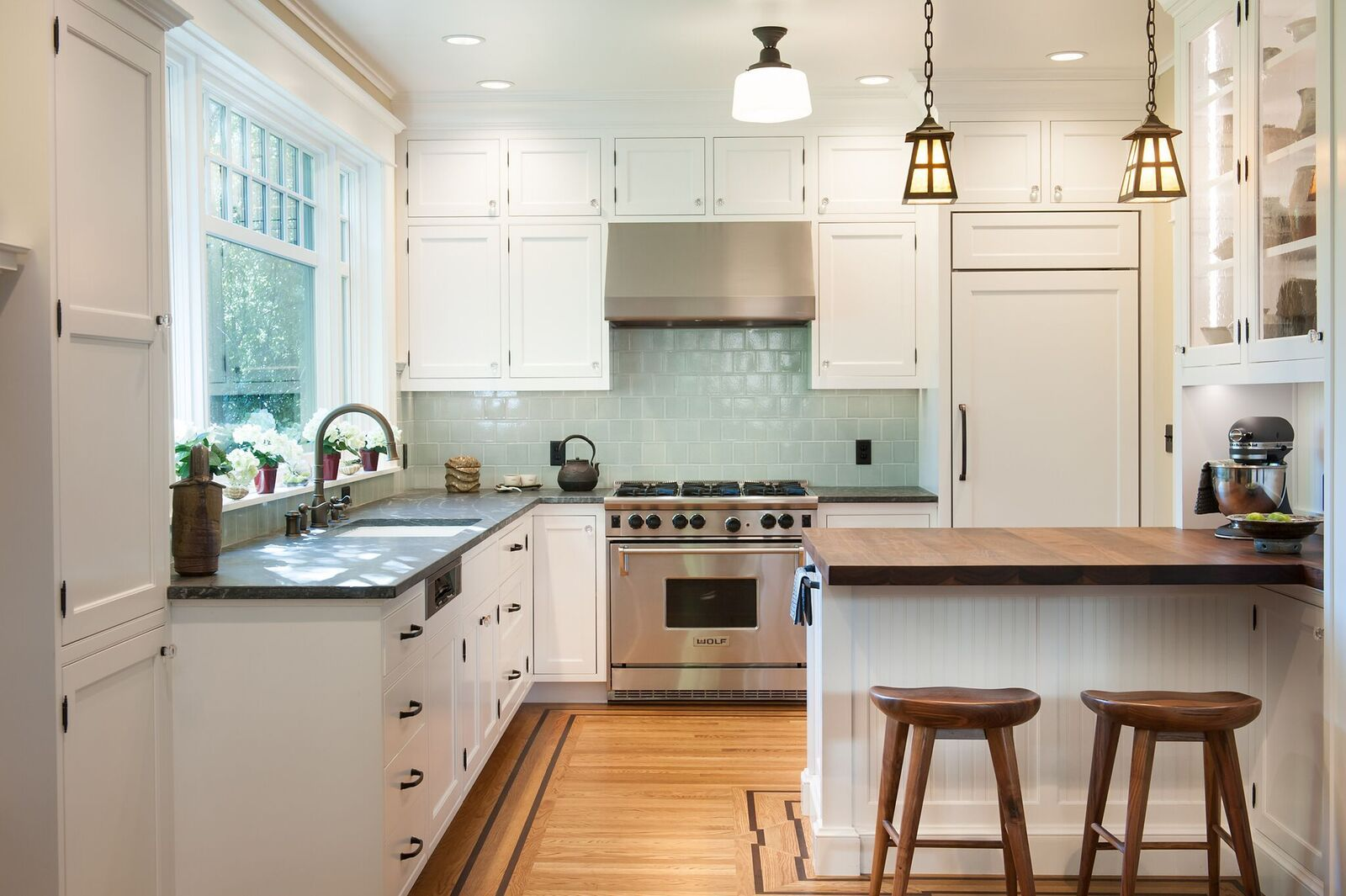 Salton Sea Offset Squares Against White Cabinets Stunning Craftsman Kitchen White Kitchen Inspiration Design White Kitchen Inspiration