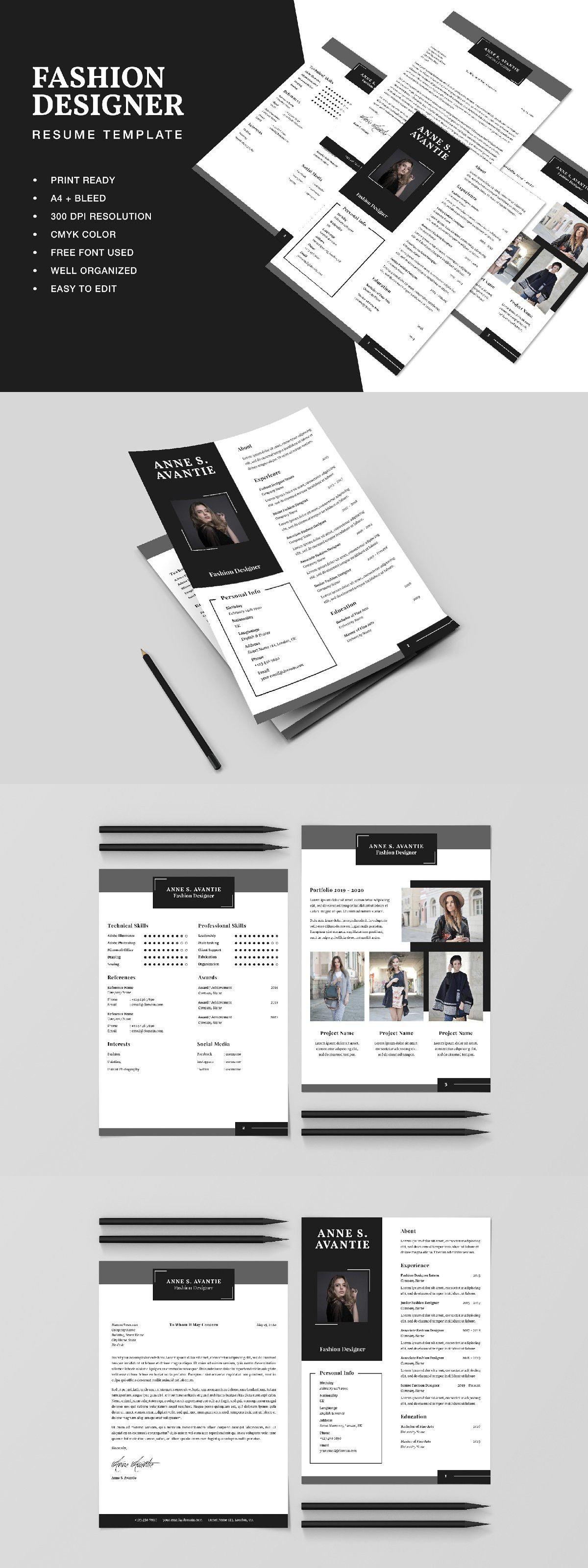 Fashion designer resume cv template resume design