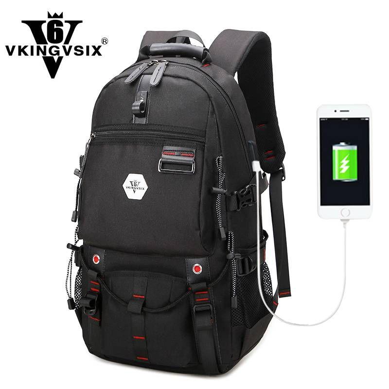 dcc0f341050 VKINGVSIX USB Waterproof backpack Women Men 15.6 inch laptop backpacks  Travel teen school bags boys back pack mochila bagback