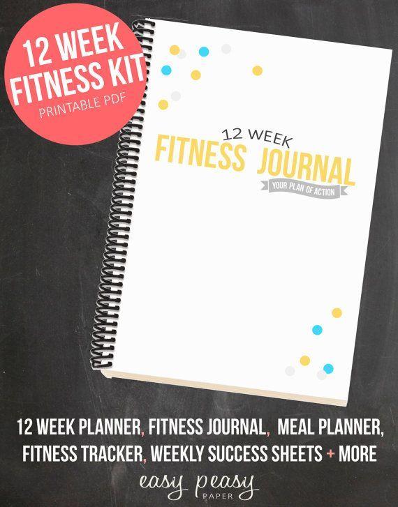 12 Week Fitness Planner PRINTABLE Health and Fitness Journal -  12 Week Fitness Planner  – Printable...