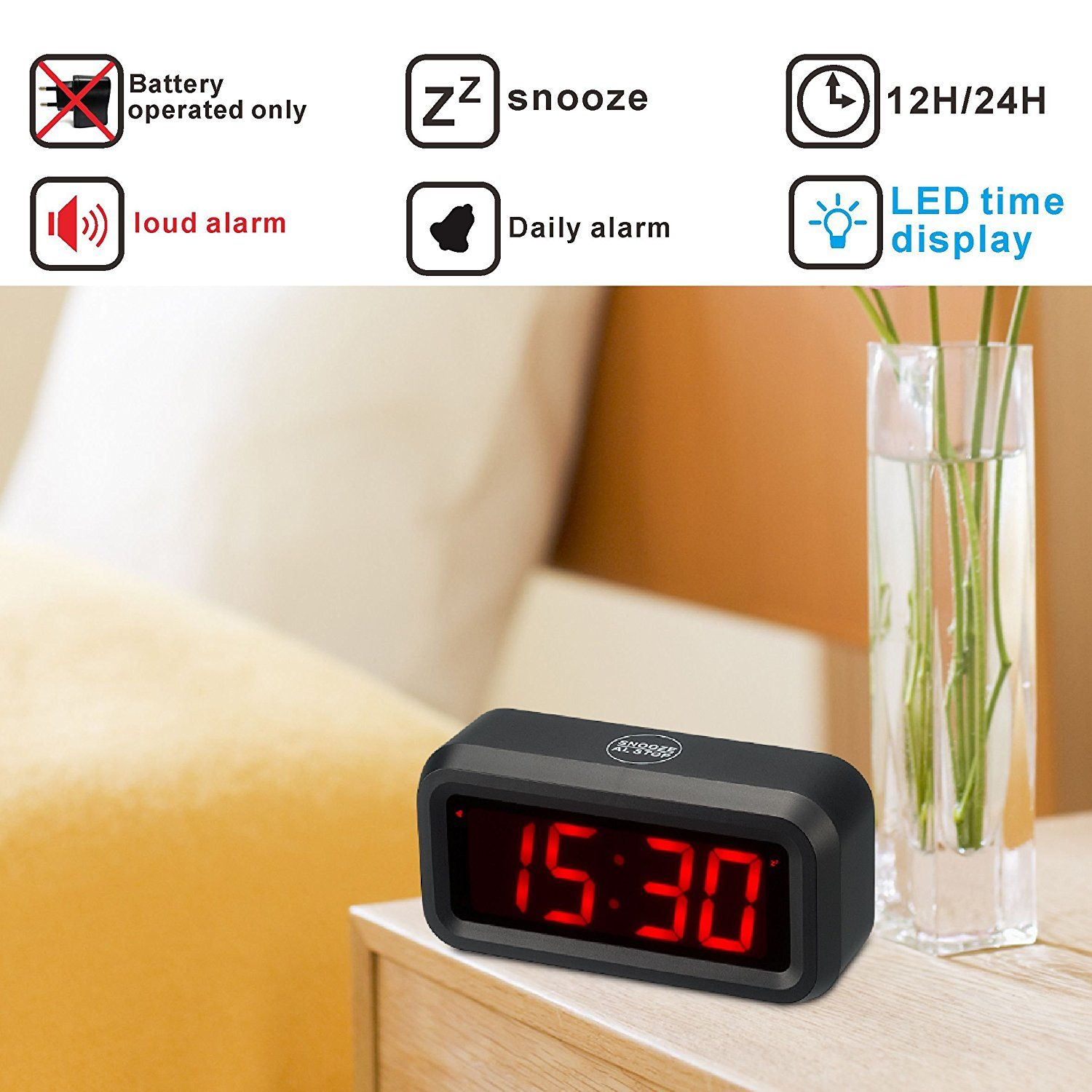 Kwanwa Led Digital Alarm Clock Battery Operated Only Small For