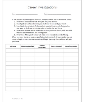Career Path Cluster Investigation Interest Skills Worksheet Guidance Counselors Worksheets Investigations