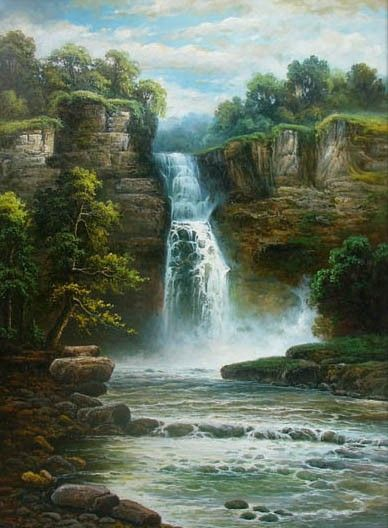Mystic Falls Wallpaper Hand Painted Landscape Oil Paintings Paintings