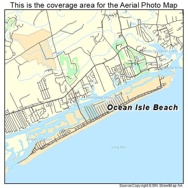 Map Of Ocean Isle North Carolina Aerial Photography Map of Ocean Isle Beach, NC North Carolina