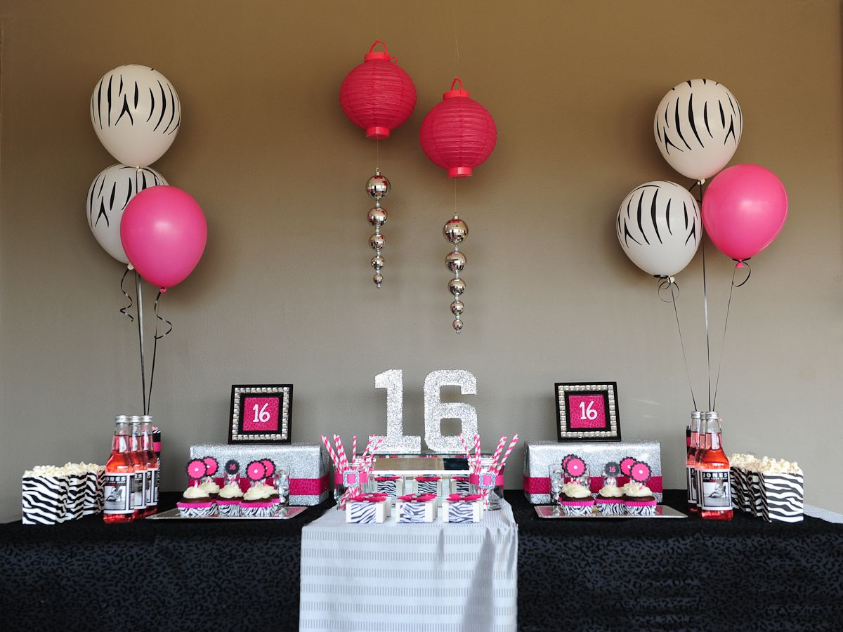 Table Set Up Sweet 16 Party Decorations 16th Birthday Dessert