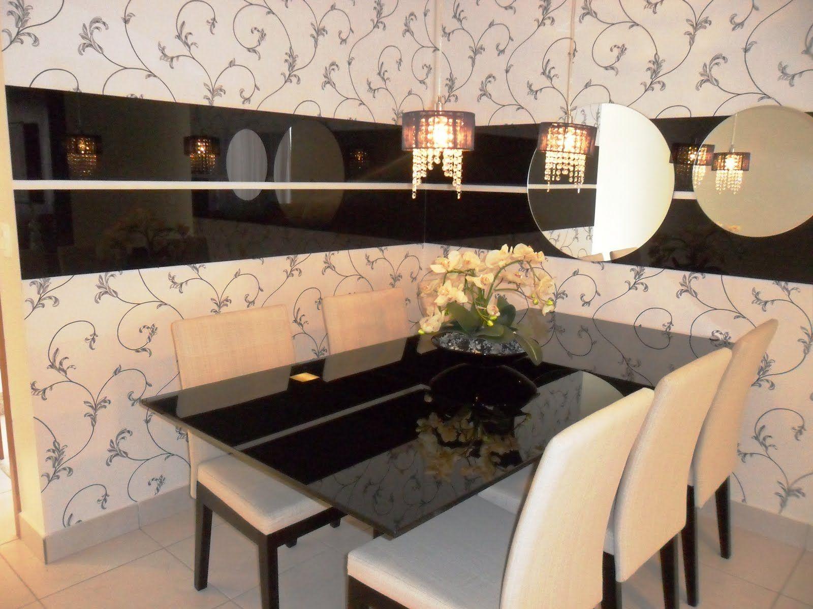 Mesa De Jantar De Vidro Preto 1 Pinteres  -> Sala De Jantar Retangular Pequena