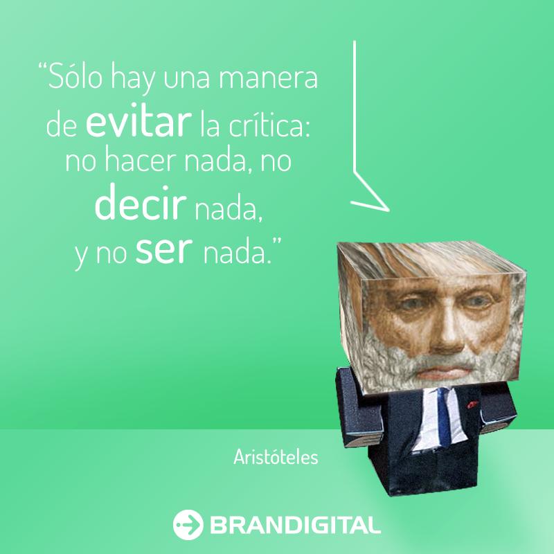 """""""Sólo hay una manera de evitar la crítica: no hacer nada, no decir nada y no ser nada"""" - Aristóteles"""