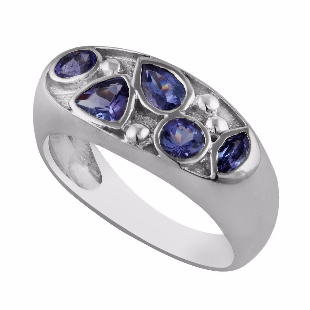 1.83ct Blue Tanzanite 925 Sterling Silver Five Gemstone Band Ring Gift Jewelry #Unbranded #Band #Anniversary