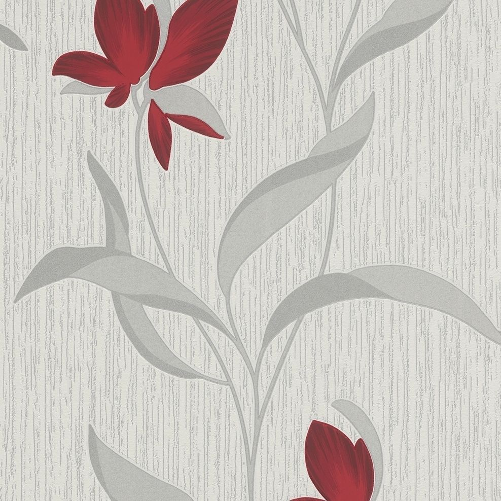 Myla Cherry Contemporary Floral Upholstery Fabric